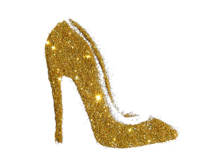 High heel shoe of golden glitter sparkle on white background Reklamní fotografie