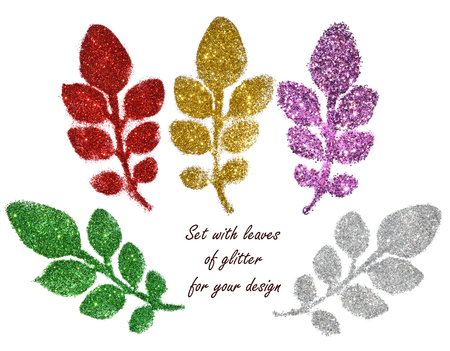 Set with leaves of green, red, golden, purple and silver glitter on white background