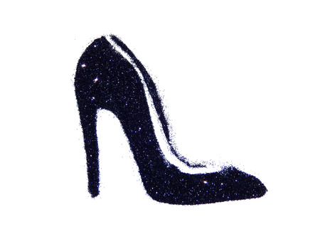 High heel shoe of black glitter sparkle on white background Stock Photo