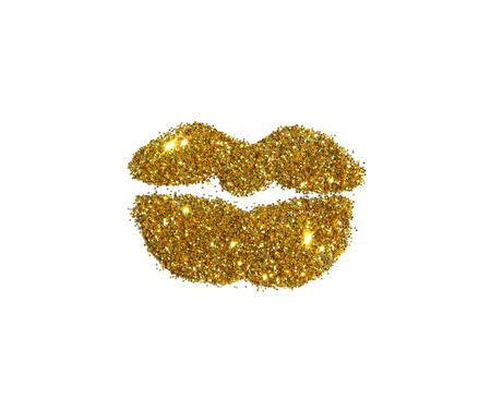 Beautiful lips of golden glitter sparkle on white background. Can be used for fashion editions, websites, magazines, advertisement etc.