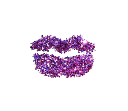 Beautiful lips of purple glitter sparkle on white background. Can be used for fashion editions, websites, magazines, advertisement etc.