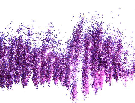 Purple glitter sparkle on white background