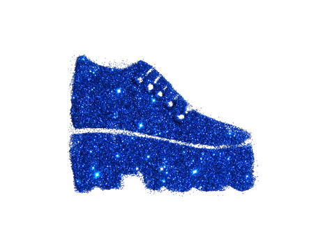 Fashionable tractor sole boot on high heel of blue glitter sparkle on white background Stock Photo