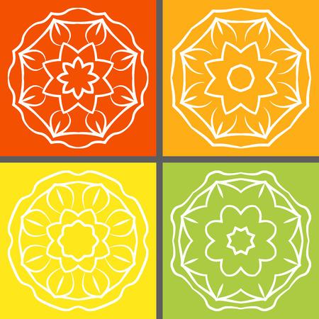 mandalas: Set of four mandalas on different colorful backgrounds. Vector illustration