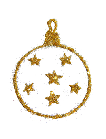 Abstract Christmas ball with stars of golden glitter, festive design element, icon Stock Photo
