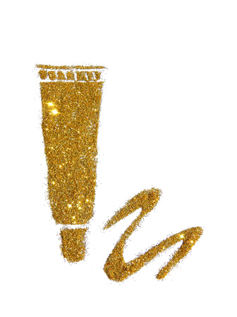Tube of cream or other cosmetics of golden glitter sparkle on white background. Can be used for fashion editions, websites, magazines, advertisement etc. Stock Photo