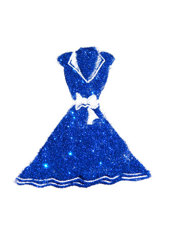 Dress with collar and bow at the waist of blue glitter on white background Stock Photo