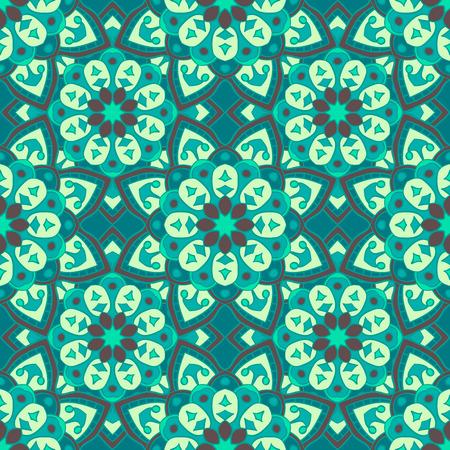Seamless pattern. Decorative vintage pattern with mandalas. Vector background Illustration