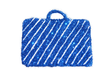 tendency: Suitcase of blue glitter sparkles on white background Stock Photo