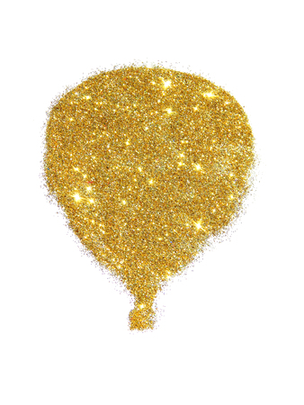 Air balloon of golden glitter sparkle on white background