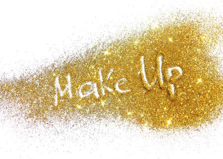 Inscription Make Up on golden glitter sparkle on white background