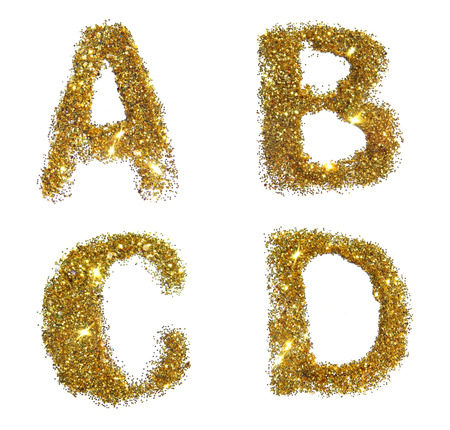 Letters A, B, C, D of golden glitter sparkle on white background