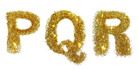 Letters P, Q, R of golden glitter sparkle on white background