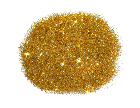 Golden glitter sparkle on white background. Can be used as place for text, for greeting or invitation card, etc.