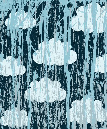 splattered: Abstract grunge background with clouds on the wall splattered with blue paint, vector illustration