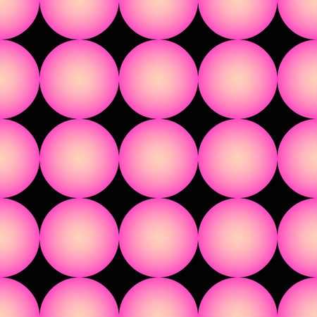 Seamless pattern with abstract pink balls on black background, vector illustration