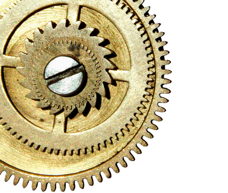 affixed: Stapled gears on white background