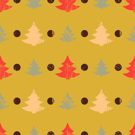rounds: Abstract seamless pattern with Christmas trees in grunge style with scratches, vector illustration Illustration
