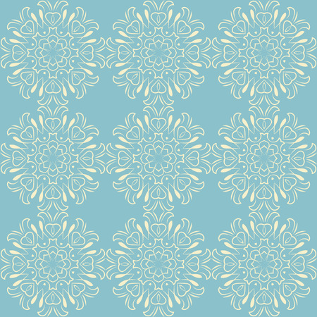 Seamless pattern with floral mandalas in beautiful colors. Vector background. Perfect for prints, wallpaper, wrapping paper etc. Illustration