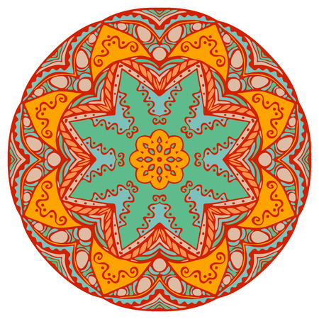Mandala in beautiful colors for your design. Vector ornament on white background. Illustration