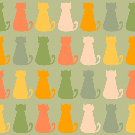 Seamless pattern with colorful cats on green background Illustration
