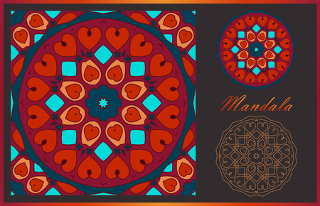 Two mandalas and seamless pattern with it in beautiful colors. Vector collection for your design