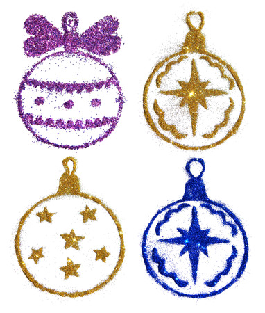 Set with four Christmas balls of golden, purple and blue glitter on white background, icons for your design. Stock Photo