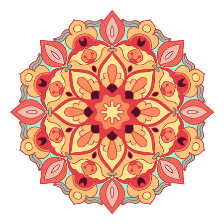 pink and brown background: Mandala in beautiful colors. Decorative ethnic vector ornament. You can easy change the color in the vector editor