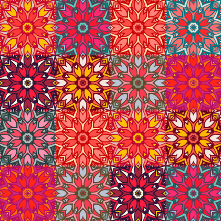 Checkered seamless pattern with beautiful Mandalas. Vector illustration