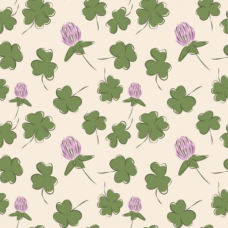 quatrefoil: Clover flowers and leaves, vector illustration, seamless pattern