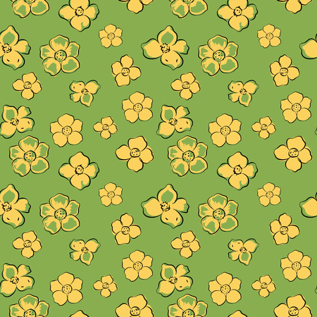 buttercup  decorative: Little yellow flowers on green background, vector illustration, seamless pattern