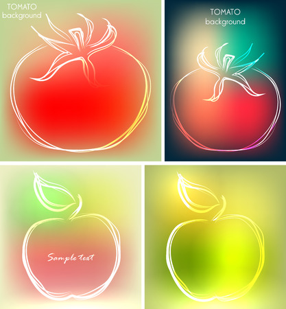 Set of four backgrounds or greeting cards with tomatoes and apples set of four backgrounds or greeting cards with tomatoes and apples in beautiful colors vector m4hsunfo