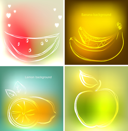 Set of four backgrounds or greeting cards with watermelon bananas set of four backgrounds or greeting cards with watermelon bananas lemon and apple in m4hsunfo