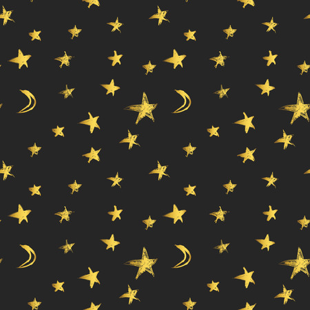 moons: Pattern with golden hand drawn stars and crescent moons. Vector illustration