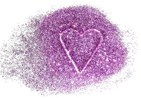 Abstract heart of purple glitter sparkle on white background Stock Photo