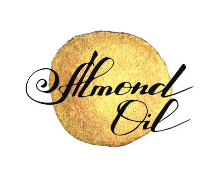 Hand written words Almond Oil on golden paint splash on white background Illustration