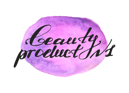 Hand written words Beauty Product number one on purple watercolor splash on white background Illustration