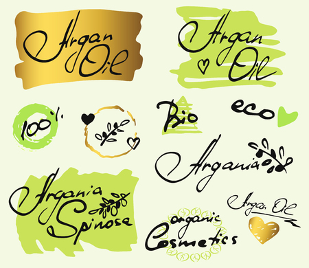 Set with hand drawn elements, words Argan Oil, eco, organic cosmetics, bio on white background