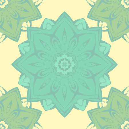 east indian: Seamless pattern with beautiful colorful mandalas. Vector ornaments in grunge style