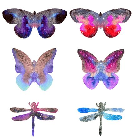 Set with beautiful watercolor butterflies and dragonflies isolated on white background. Colors of space, starry sky