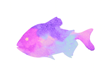 Watercolor fish on white background Stock Photo