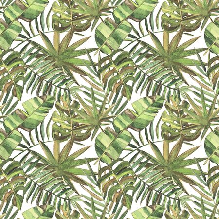 Seamless pattern with watercolor tropical leaves Foto de archivo