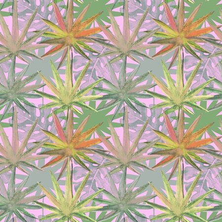 Seamless pattern with watercolor tropical leaves Stock Photo
