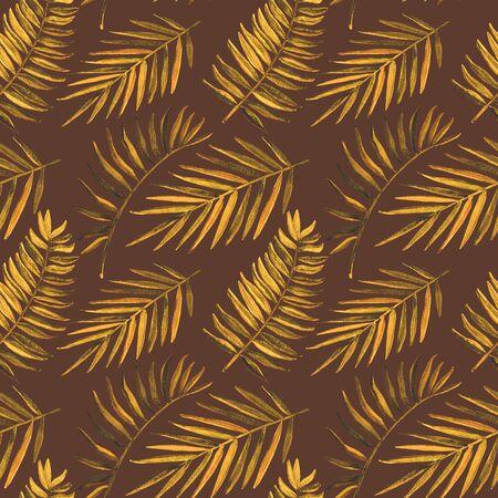 Patrón sin fisuras con hojas tropicales acuarelas