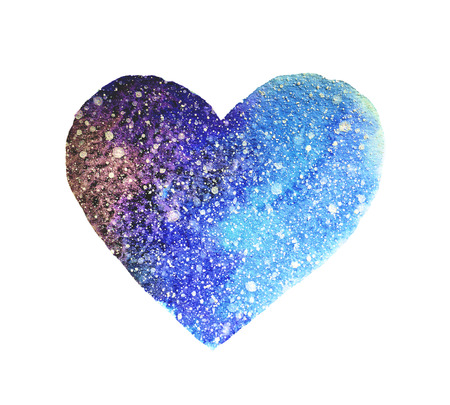 Watercolor heart in beautiful colors of space Stock Photo