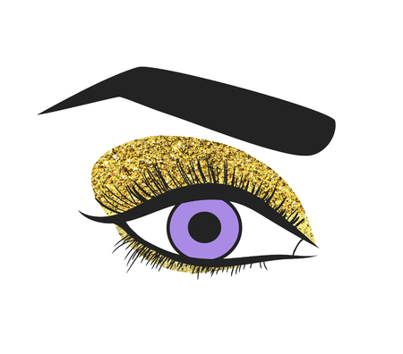 Illustration of a blue female eye isolated on white background, makeup with golden glitter.