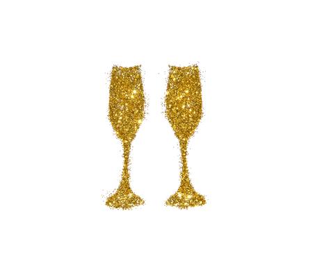 Twee glazen champagne van gouden schitteren op witte achtergrond, pictogram voor uw ontwerp.