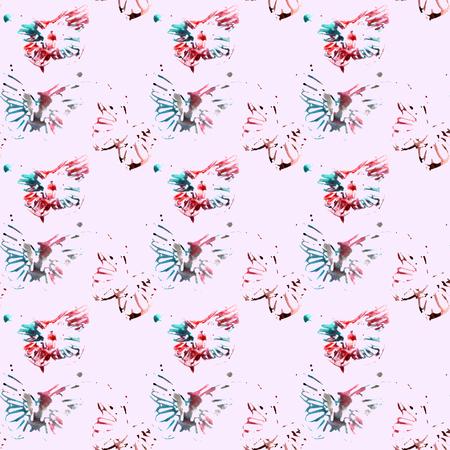 분홍색 배경, 원활한 패턴에 아름 다운 추상 나비