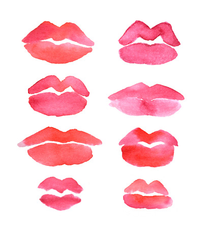 Set with watercolor hand drawn beautiful lips