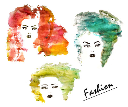 Three hand drawn fashion women with watercolor stylized hair Stock Photo